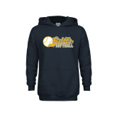 Youth Navy Fleece Hood-Script Softball w/ Ba Design