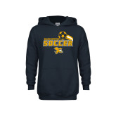 Youth Navy Fleece Hoodie-Soccer Swoosh Design