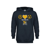 Youth Navy Fleece Hoodie-Just Kick It Soccer Design