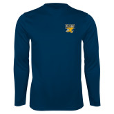 Performance Navy Longsleeve Shirt-Griffs w/ Griff Stacked