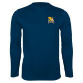 Performance Navy Longsleeve Shirt-Canisius w/ Griff Stacked