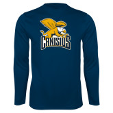 Syntrel Performance Navy Longsleeve Shirt-Canisius w/ Griff Stacked
