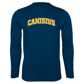 Syntrel Performance Navy Longsleeve Shirt-Arched Canisius