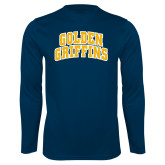 Performance Navy Longsleeve Shirt-Arched Golden Griffins