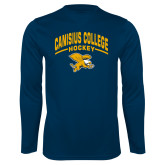 Performance Navy Longsleeve Shirt-Arched Canisius College Hockey