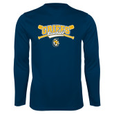 Syntrel Performance Navy Longsleeve Shirt-Baseball Crossed Bats Design