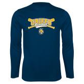 Performance Navy Longsleeve Shirt-Baseball Crossed Bats Design