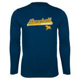 Performance Navy Longsleeve Shirt-Baseball Script w/ Bat Design