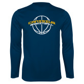 Syntrel Performance Navy Longsleeve Shirt-Basketball Ball Design