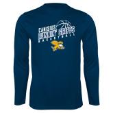 Performance Navy Longsleeve Shirt-Runnin Griffs Basketball Design