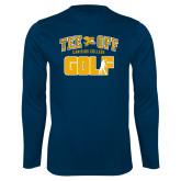 Performance Navy Longsleeve Shirt-Tee Off Golf Design