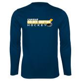 Performance Navy Longsleeve Shirt-Hockey Stick Design