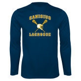 Syntrel Performance Navy Longsleeve Shirt-Lacrosse Crossed Sticks Design