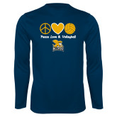 Performance Navy Longsleeve Shirt-Peace, Love and Volleyball Design