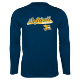 Syntrel Performance Navy Longsleeve Shirt-Script Softball w/ Bat Design
