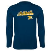 Performance Navy Longsleeve Shirt-Script Softball w/ Bat Design