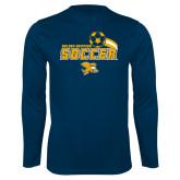 Performance Navy Longsleeve Shirt-Soccer Swoosh Design