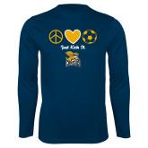 Performance Navy Longsleeve Shirt-Just Kick It Soccer Design