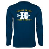 Performance Navy Longsleeve Shirt-Cross Country Design