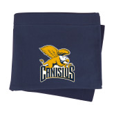 Navy Sweatshirt Blanket-Canisius w/ Griff Stacked