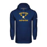Under Armour Navy Performance Sweats Team Hoodie-Lacrosse Crossed Sticks Design