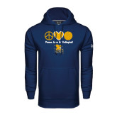 Under Armour Navy Performance Sweats Team Hoodie-Peace, Love and Volleyball Design