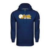 Under Armour Navy Performance Sweats Team Hoodie-Script Softball w/ Ba Design