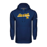 Under Armour Navy Performance Sweats Team Hoodie-Baseball Script w/ Bat Design
