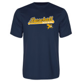 Syntrel Performance Navy Tee-Baseball Script w/ Bat Design