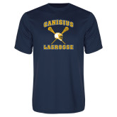 Syntrel Performance Navy Tee-Lacrosse Crossed Sticks Design