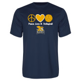 Performance Navy Tee-Peace, Love and Volleyball Design