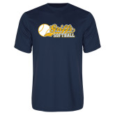 Syntrel Performance Navy Tee-Script Softball w/ Ba Design