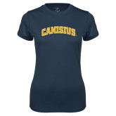 Ladies Syntrel Performance Navy Tee-Arched Canisius