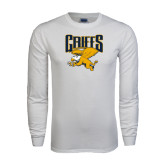 White Long Sleeve T Shirt-Griffs w/ Griff Stacked