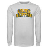 White Long Sleeve T Shirt-Arched Golden Griffins