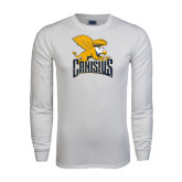 White Long Sleeve T Shirt-Canisius w/ Griff Stacked - Distressed