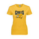 Ladies Gold T Shirt-Griffs w/ Griff Stacked