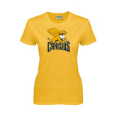 Ladies Gold T Shirt-Canisius w/ Griff Stacked