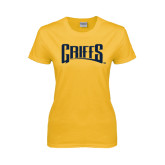 Ladies Gold T Shirt-Griffs Wordmark
