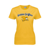 Ladies Gold T Shirt-Scripted Golden Griffins w/ Griff