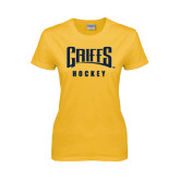 Ladies Gold T Shirt-Hockey