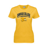 Ladies Gold T Shirt-Arched Canisius College Hockey