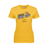 Ladies Gold T Shirt-Runnin Griffs Basketball Design
