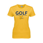 Ladies Gold T Shirt-Golf Design