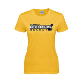 Ladies Gold T Shirt-Hockey Stick Design