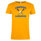 Ladies Gold T Shirt-Lacrosse Crossed Sticks Design