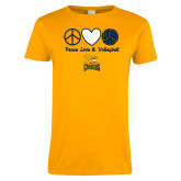 Ladies Gold T Shirt-Peace, Love and Volleyball Design