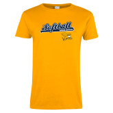 Ladies Gold T Shirt-Script Softball w/ Bat Design