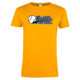 Ladies Gold T Shirt-Script Softball w/ Ba Design