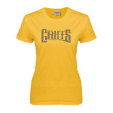 Ladies Gold T Shirt-Rhinestone Griffs